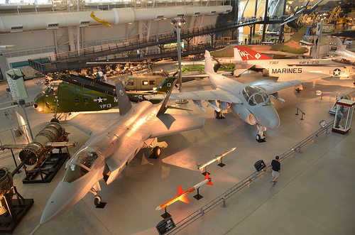 "Steven F. Udvar-Hazy Center: X-35B Joint Strike Fighter, A-6E Intruder, F-4S Phantom II, Sikorsky UH-34D Seahorse, UH-1H Iroquois ""Huey"" Smokey III, F-105D Thunderchief, F4U-1D Corsair, P-40E, SR-71 Blackbird, et al"