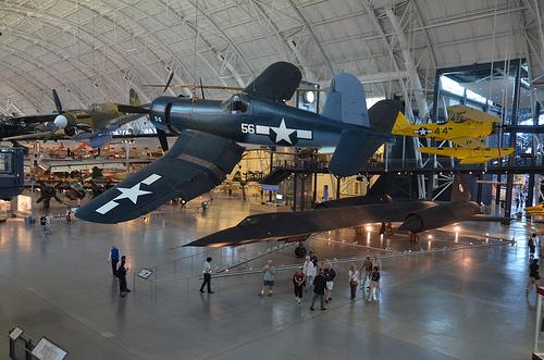 Steven F. Udvar-Hazy Center: Vought F4U-1D Corsair, with P-40 Warhawk and SR-71 Blackbird in background