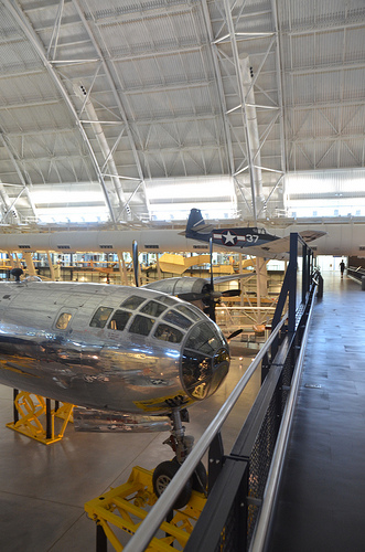 "Steven F. Udvar-Hazy Center: south hangar panorama, which includes B-29 Superfortress ""Enola Gay"", Grumman F6F-3 Hellcat, among other people"