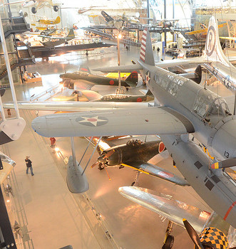 Steven F. Udvar-Hazy Center: South hangar panorama, like Vought OS2U-3 Kingfisher seaplane, B-29 Enola Gay, amongst others