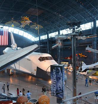 Steven F. Udvar-Hazy Center: Space exhibit panorama (Space Shuttle Enterprise)