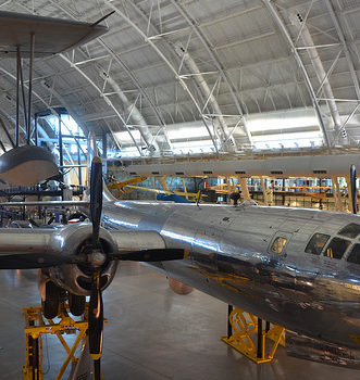 "Steven F. Udvar-Hazy Center: south hangar panorama, which includes Vought OS2U-three Kingfisher seaplane, B-29 Superfortress ""Enola Gay"", amongst other people"