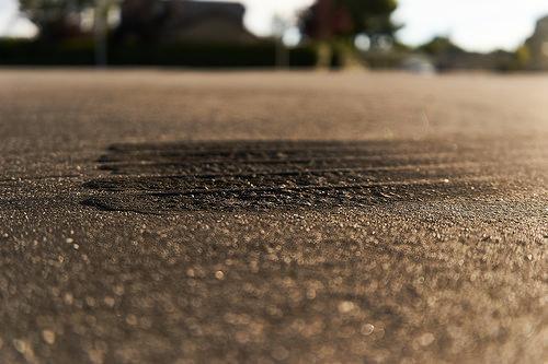scarred asphalt